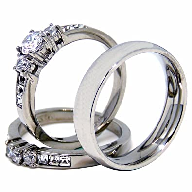 b9d2ce4ed3 Lanyjewelry His Hers Couple Rings Set Womens Stainless Steel Small Round CZ  Engagement Ring Set Mens
