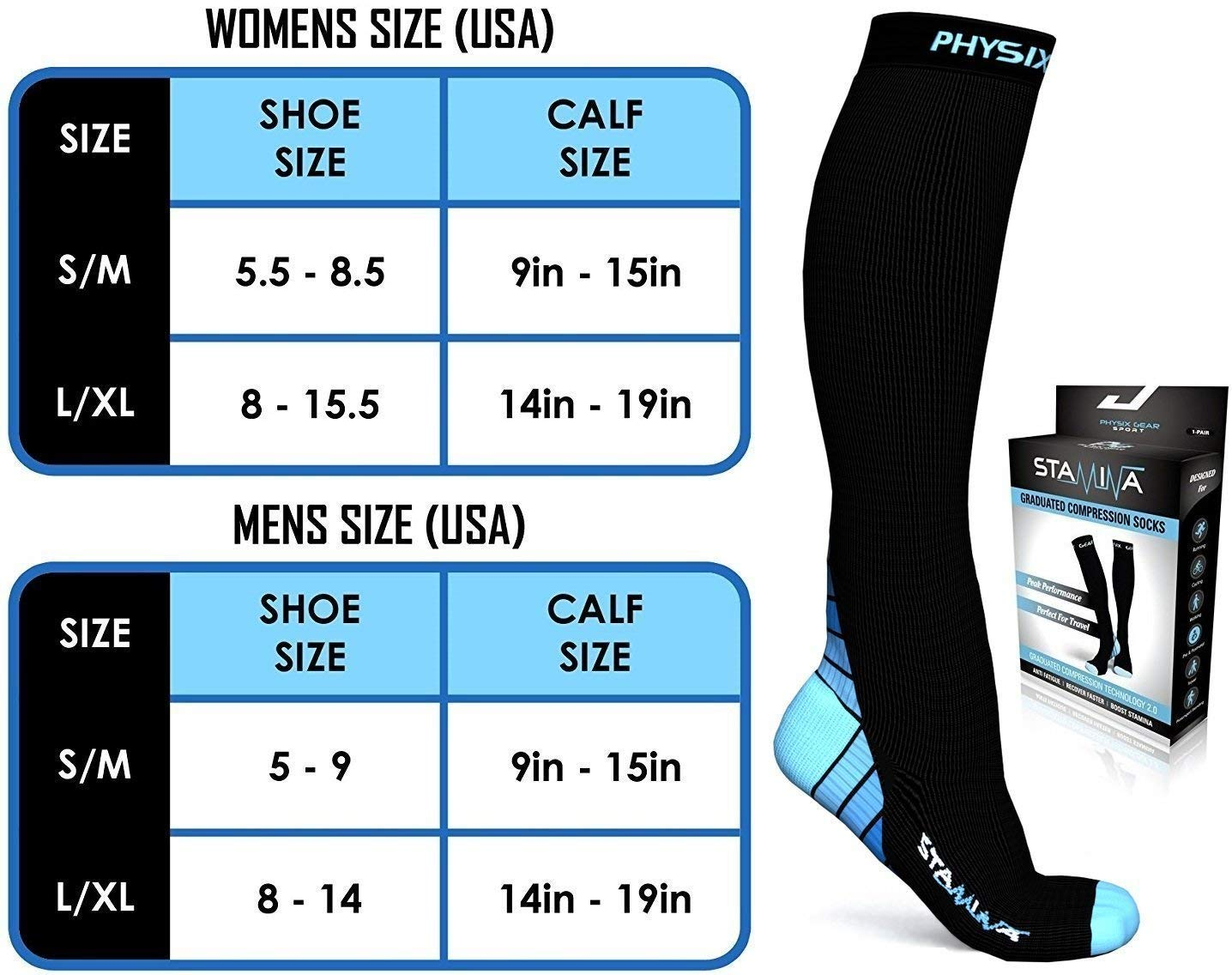 3 Pack Compression Socks for Men & Women 20-30 mmhg, Best Graduated Athletic Fit for Running Nurses Shin Splints Flight Travel & Maternity Pregnancy - Boost Stamina Circulation & Recovery BLU LXL by Physix Gear Sport (Image #6)