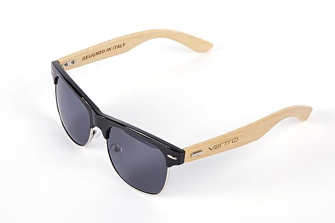 Vento Eyewear® modell Sirocco BlackTwice - Sonnenbrille aus Bambus/Holz, Entworfen in Italien, mit CE-Zertifikat und UV400 Schutz, schwarz Rahmen schwarz Objektiv