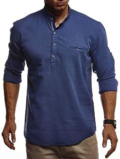 LEIF NELSON Herren Leinenhemd Hemd Kurzarm Sommer T Shirt