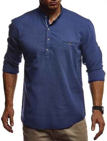 Leif Nelson Herren Leinenhemd Hemd Kurzarm Sommer T Shirt Stehkragen 100% Baumwolle Männer Freizeithemd Slim Fit Kurzarmhemd Jungen Basic Shirt