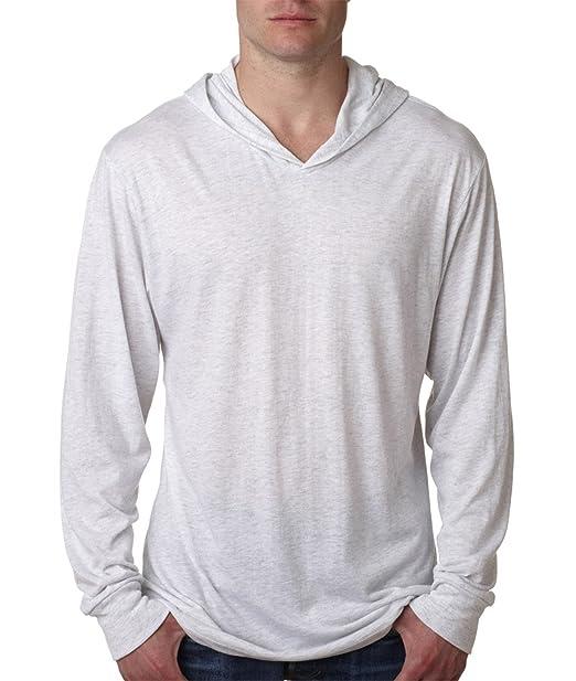 ba99f19c72e Next Level 6021 Men s Long-Sleeve Hooded T-Shirt Tri-Blend Hoodie - Vintage  White 6021 2XL at Amazon Men s Clothing store