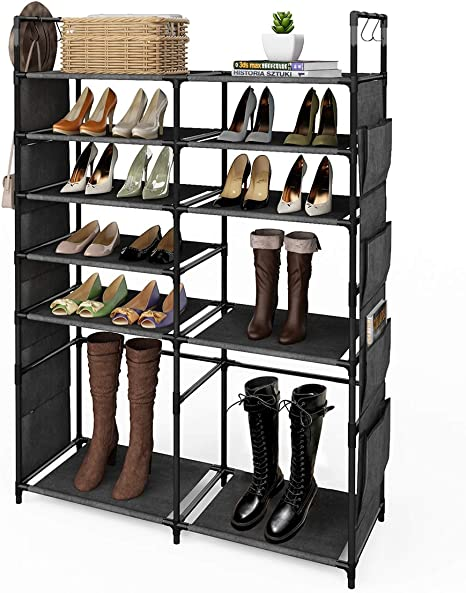 Amazon Com Zero Jet Lag 57 H Shoe Rack Boots Storage Organizer 6 Tiers Closet Entryway Shelf Stackable Cabinet Tower Double Row Non Woven Fabric Metal 20 25 Pairs Black Home Kitchen