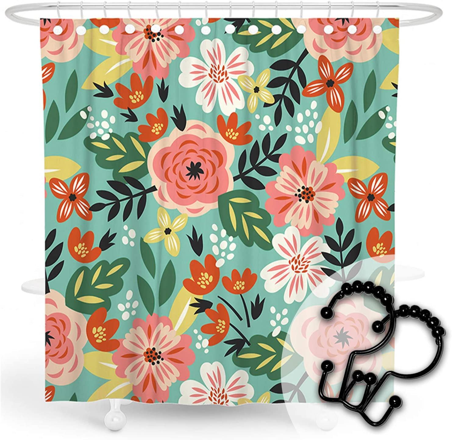 DESIHOM Floral Shower Curtain Flower Shower Curtain Wildflower Shower Curtain Plant Shower Curtain Botanical Shower Curtain Garden Shower Curtain Fall Polyester Waterproof Shower Curtain 72x72 Inch