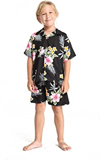 Boy Hawaiian Shirt or Cabana Set in Hibiscus Red