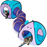 eenk Cat Toy Tunnel and Cubes Bundle - Interactive Crinkle Collapsible Tube and Foldable Cubes Playground for Pet, Cats and P