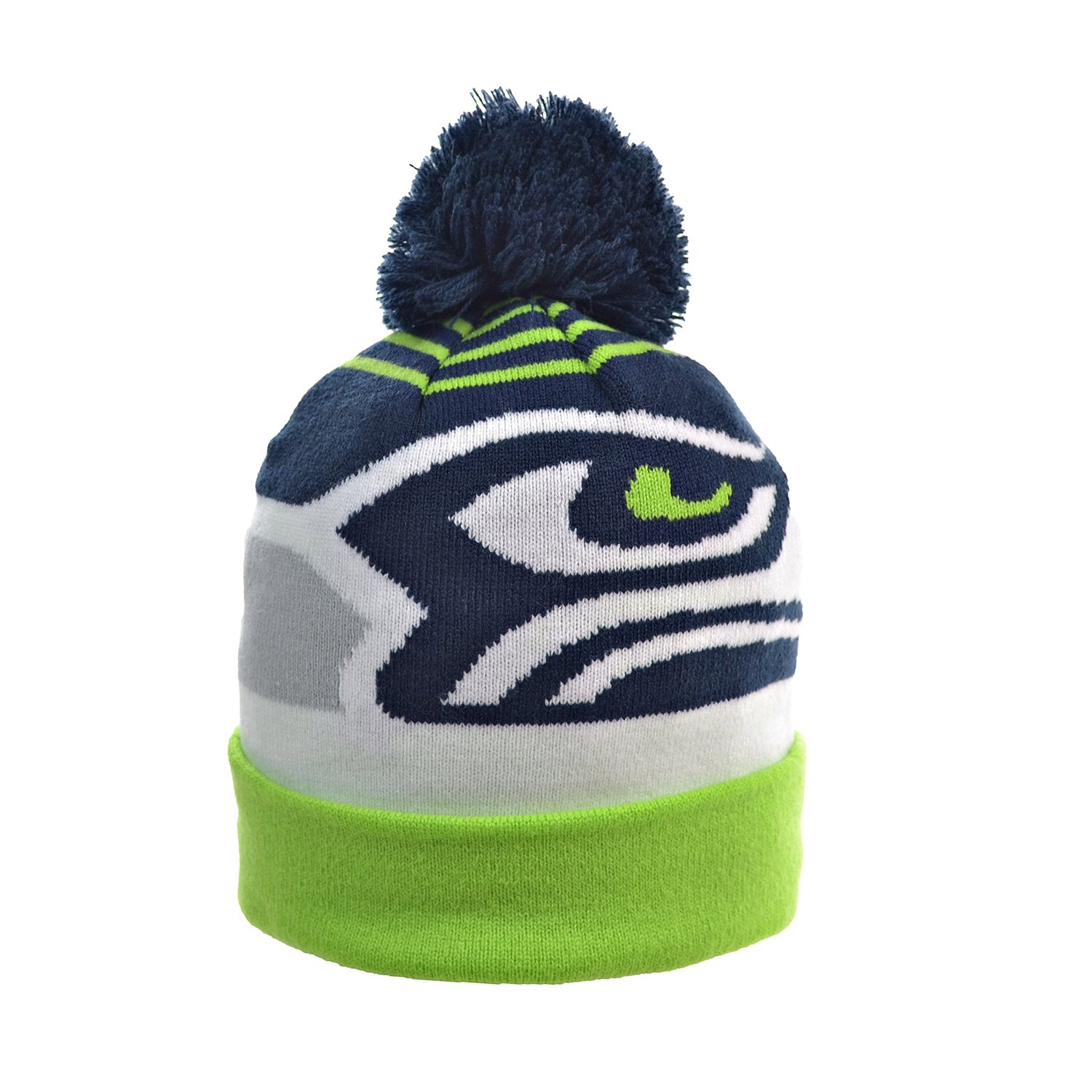 ddc3fe79f63 Amazon.com   New Era Seattle Seahawks Logo Whiz 2 Cuffed Pom Knit Beanie Hat Cap    Sports   Outdoors