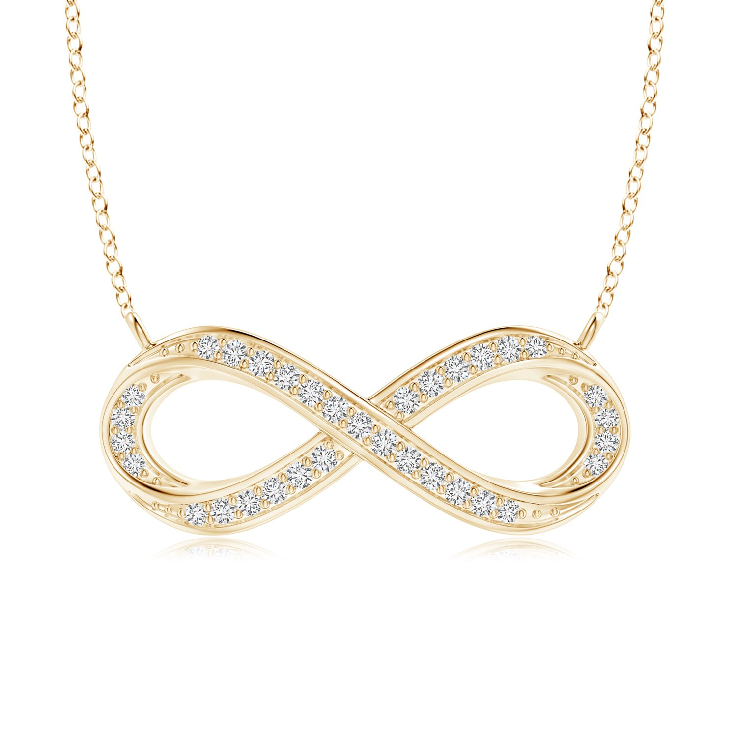 Valentines Offer Lab Grown Diamond Sideways Infinity Necklace in 14k Gold Pure Ignis PI-P-PSP1106D-YG-HSI2-1