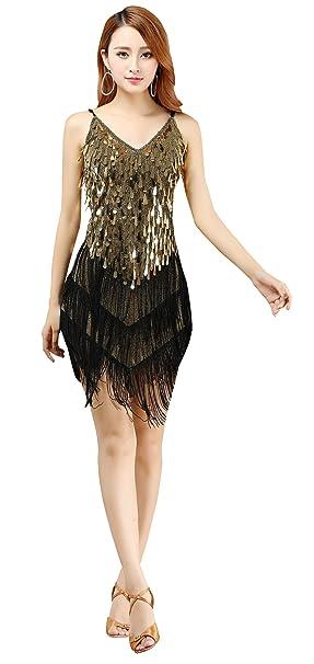 5769c172 BELLYQUEEN - Vestido Latino Mujer para Danza Clásica Salsa Tango con  Lentejuelas y Flecos - Talla Única - Dorado: Amazon.es: Deportes y aire  libre