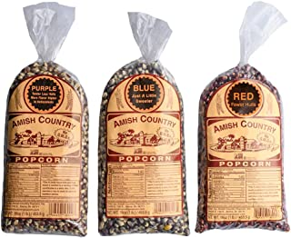 product image for Amish Country Popcorn | 3 - 1 lb Bags | Purple, Red and Blue Popcorn Kernels | Old Fashioned with Recipe Guide (3 - 1 lb Bags)