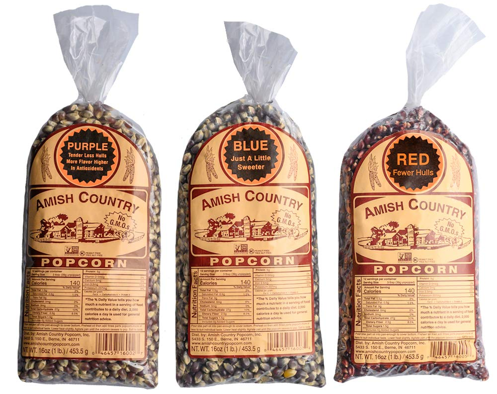 Amish Country Popcorn - 3 (1 lb. Bag Gift Set) Purple, Blue and Red Kernels - with Recipe Guide - Old Fashioned, Non GMO, and Gluten Free by Amish Country Popcorn