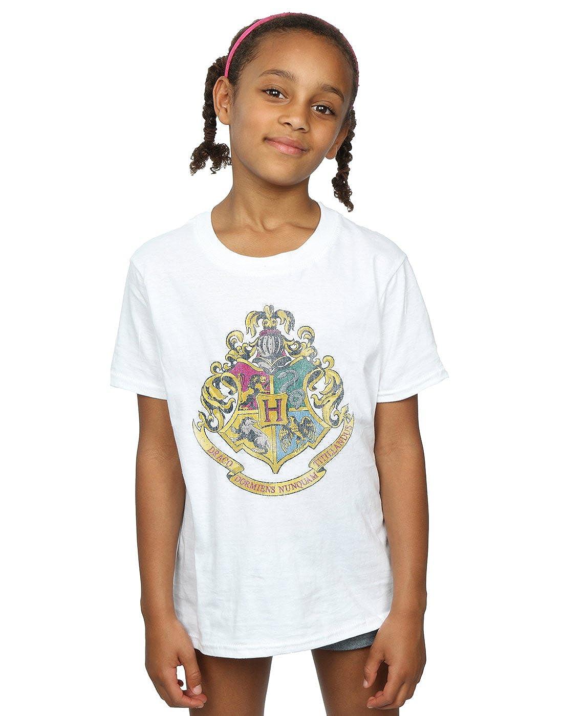 HARRY POTTER Girls Hogwarts Distressed Crest T-Shirt Absolute Cult