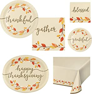 Olive Occasions Thanksgiving Fall Disposable Paper Party Supplies 16 Dinner Plates, 16 Dessert Plates, 16 Lunch Napkins, 16 Beverage Napkins, Table Cover, 8 Platters and Recipe