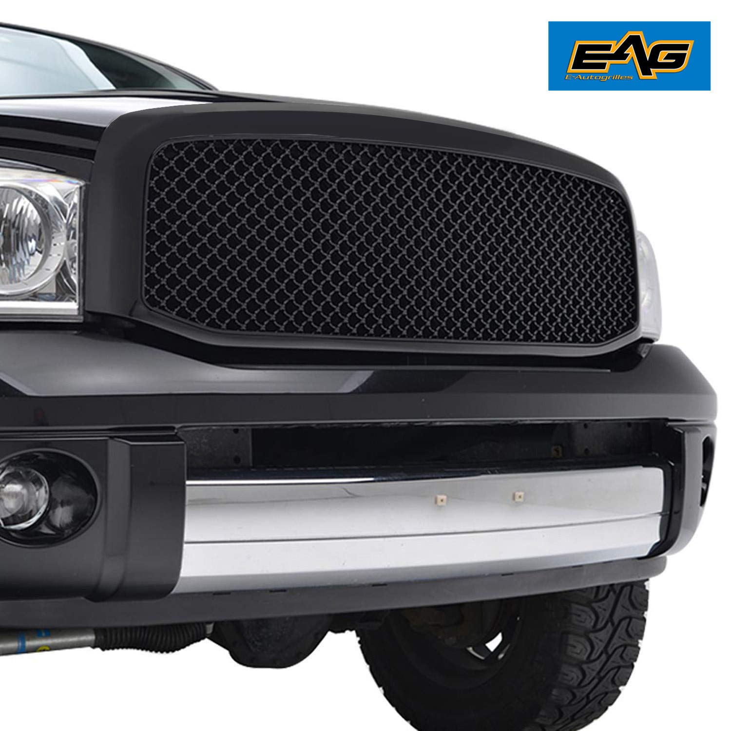 EAG Ram Replacement Upper Grille Mesh ABS Grill for 06-08 Dodge Ram 1500/06-09 Ram 2500/3500 - Matte Black