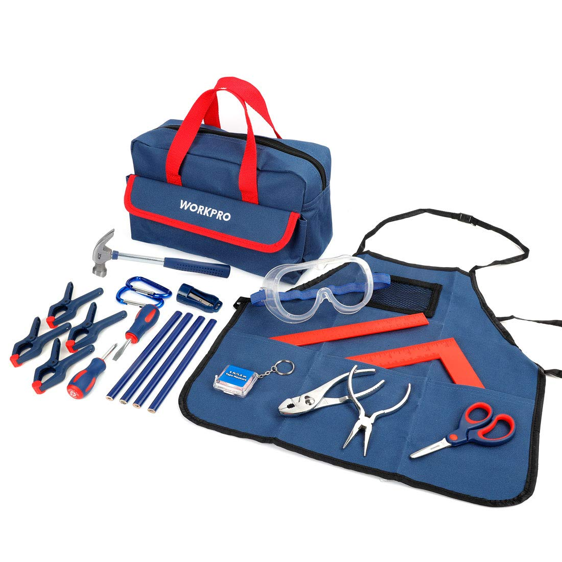 WORKPRO 23-Piece Children's Tool Set with Real Hand Tools, Safety Goggles, Storage Bag for Beginner, Kids Learning - Blue by WORKPRO