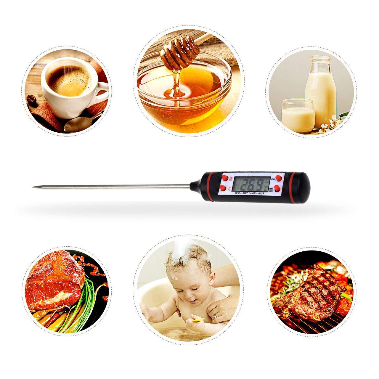 BBQ Leche Comida DXIA Term/ómetro Carne Digital Agua de Ba/ño Caramelo Pavo Sonda S/úper Larga Lectura Instant/ánea de 5s con Bot/ón de /° C // /° F Term/ómetro Cocina para Cocina