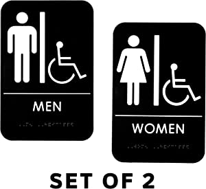Alpine Industries Men's & Women's Restroom Signs, Set of 2 - Durable Self Adhesive Back & White Handicapped Bathroom Door Sign/Placard w/Braille Lettering for Business Office & Restaurant