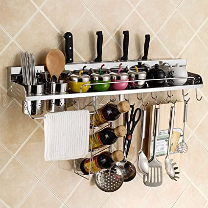 Buy 28inch Kitchen Shelf Spice Rack Multifunctional Stainless Steel Wall Mounted Hanging Rack Pan Pot Bottle Rack With Hanger Hooks Pot Storage Organizers Online At Low Prices In India Amazon In