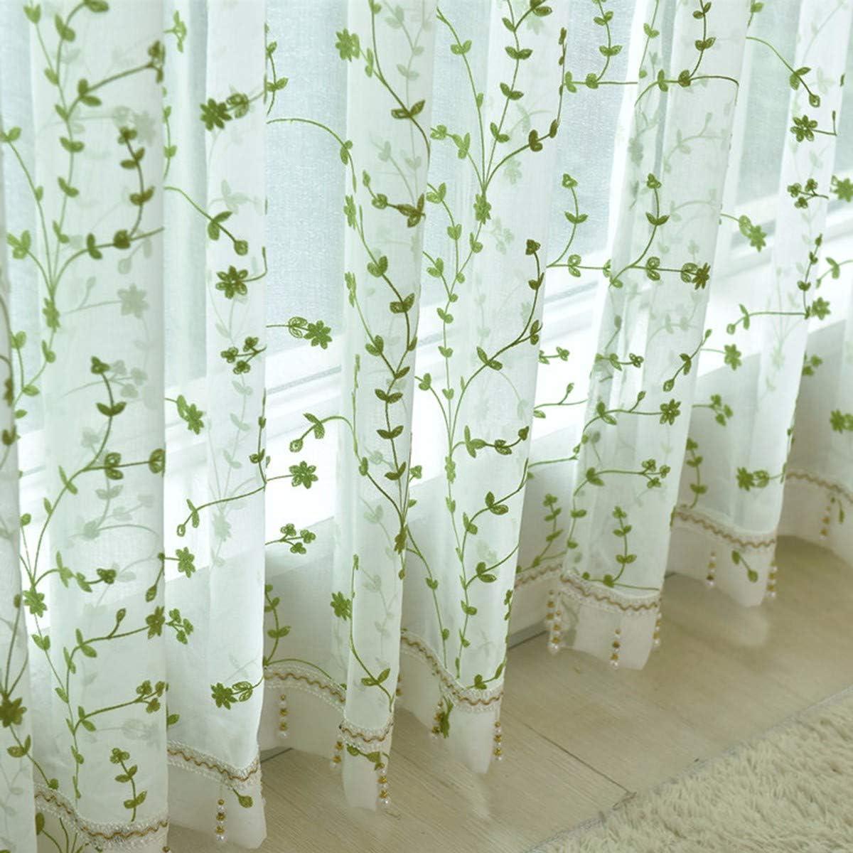 WBXZAL-Cortinas Blanco, Verde, Hojas, algodón y Lino mosquitero ...