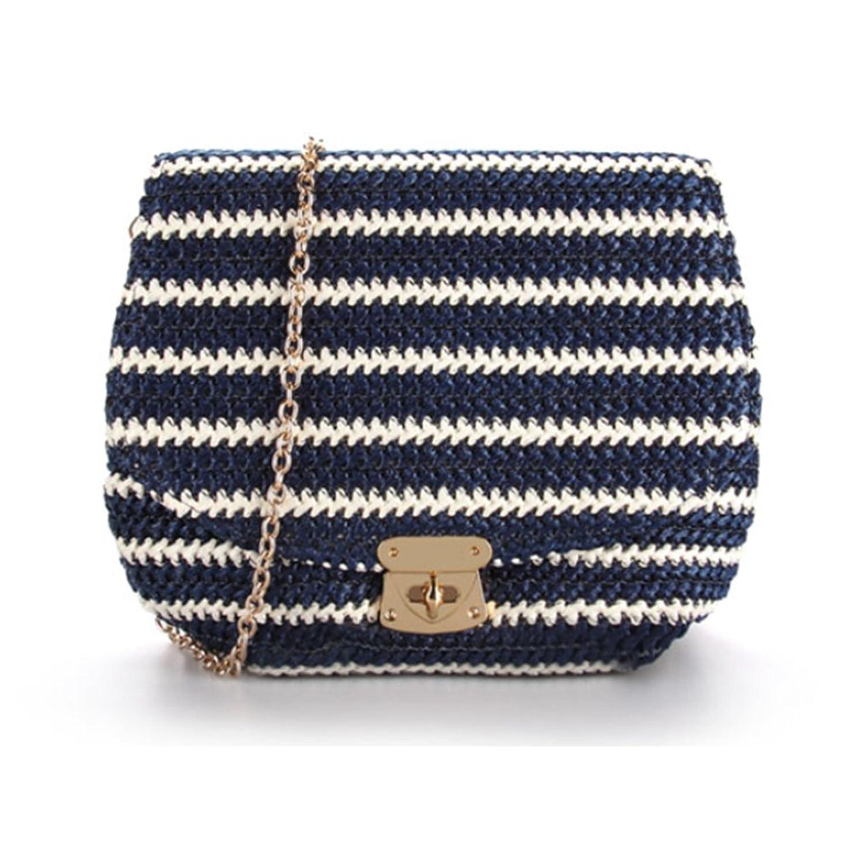 Samgo Women Striped Plain Weaving Clutch