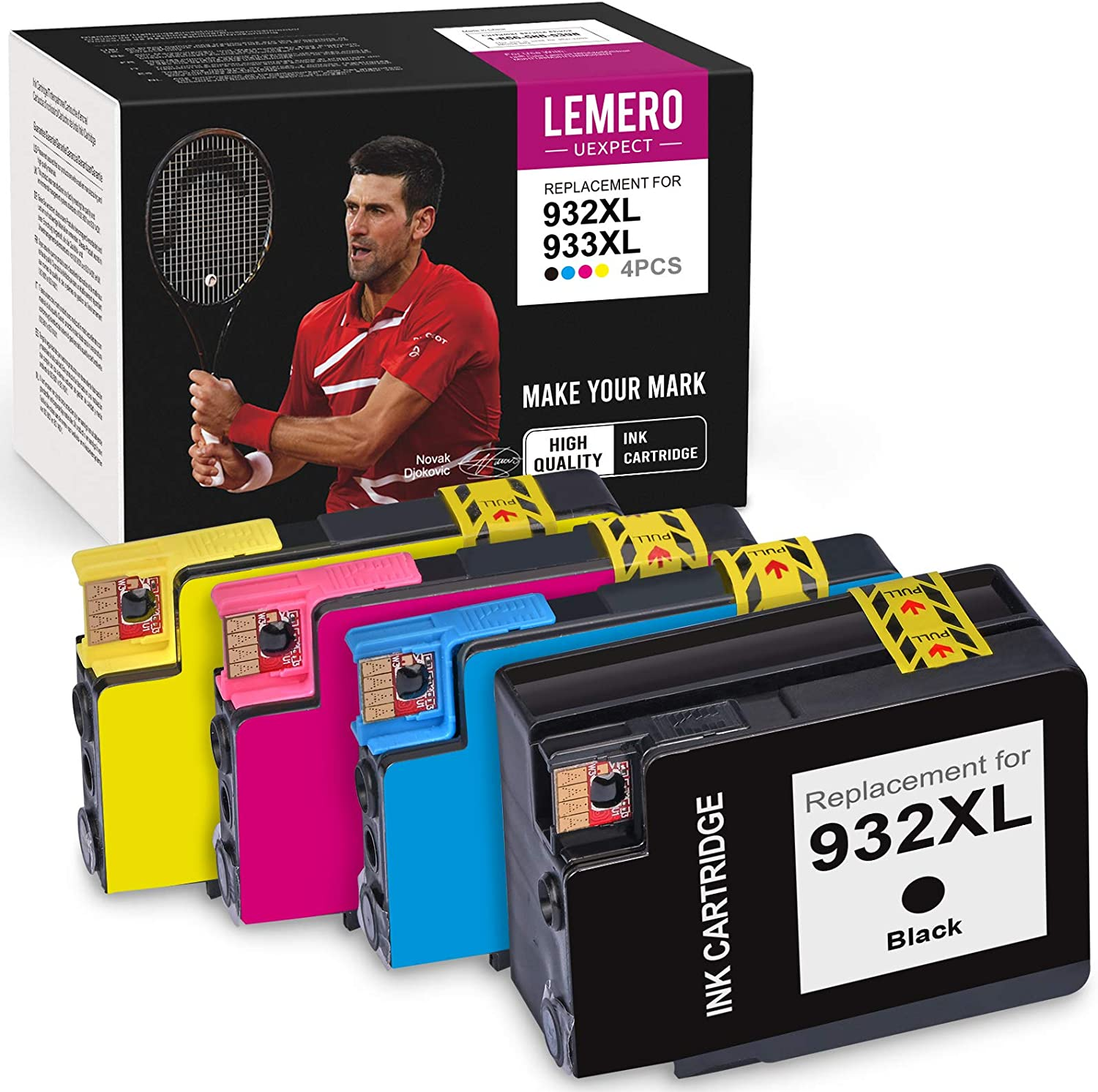 LemeroUexpect Compatible Ink Cartridge Replacement for HP 932XL 933XL 933 XL 932 XL for OfficeJet 6700 6600 7610 7612 6100 7100 (Black Cyan Magenta Yellow, 4 Pack)