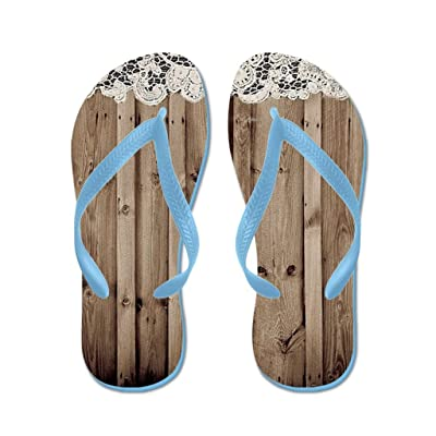 Lplpol Barnwood White Lace Country Flip Flops for Kids and Adult Unisex Beach Sandals Pool Shoes Party Slippers