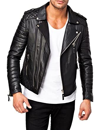 World Of Leather Moto Style Lambskin Quilted Leather Jacket Biker At