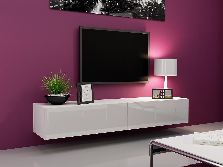 TV Board Lowboard Migo Hängeschrank Wohnwand (Weiß Matt /Weiß ...
