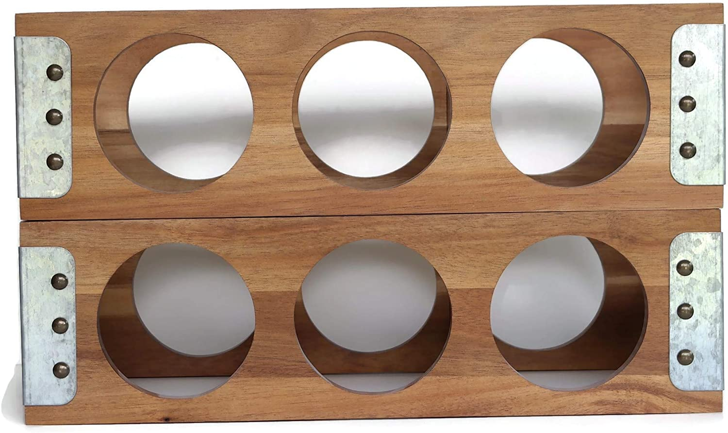 Kitchen and Table Acacia and Galvanized Steel Wine Rack Freestanding Countertop 3 Bottle Rustic Wine Box Rack (2)