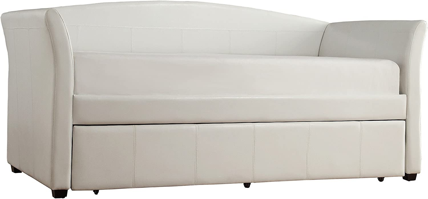 ModHaus Living Modern Transitional Faux Leather Upholstery Trundle Sofa Daybed with Solid Wood Frame – Includes Pen White with Trundle