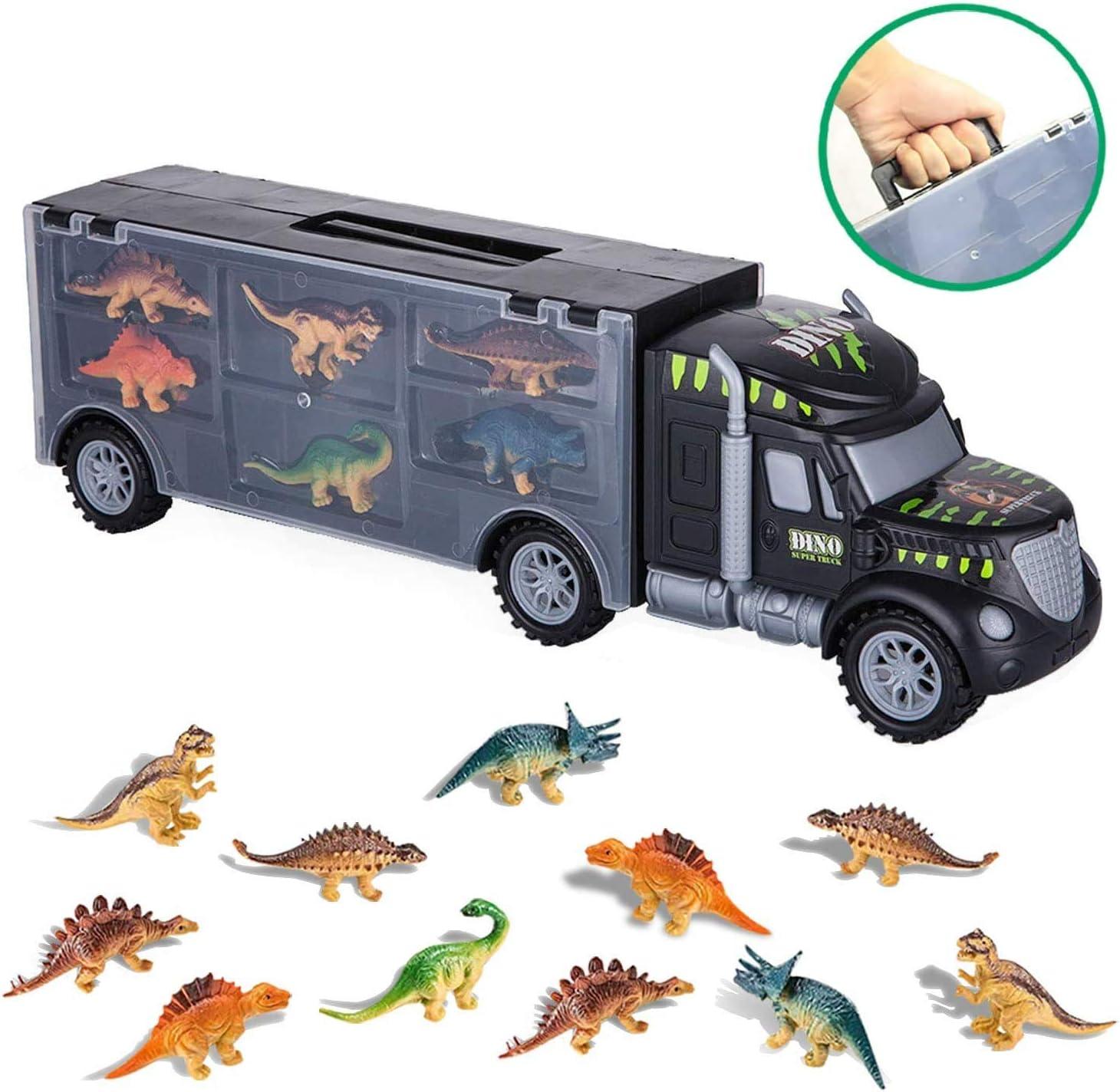 bhdlovely Dinosaurios Juguetes Camión de Dinosaurio Transporte Camión Juguetes con 12 Mini Animales de Dinosaurios de Plástico Juguetes para Niños Niñas 3 - 12 Años