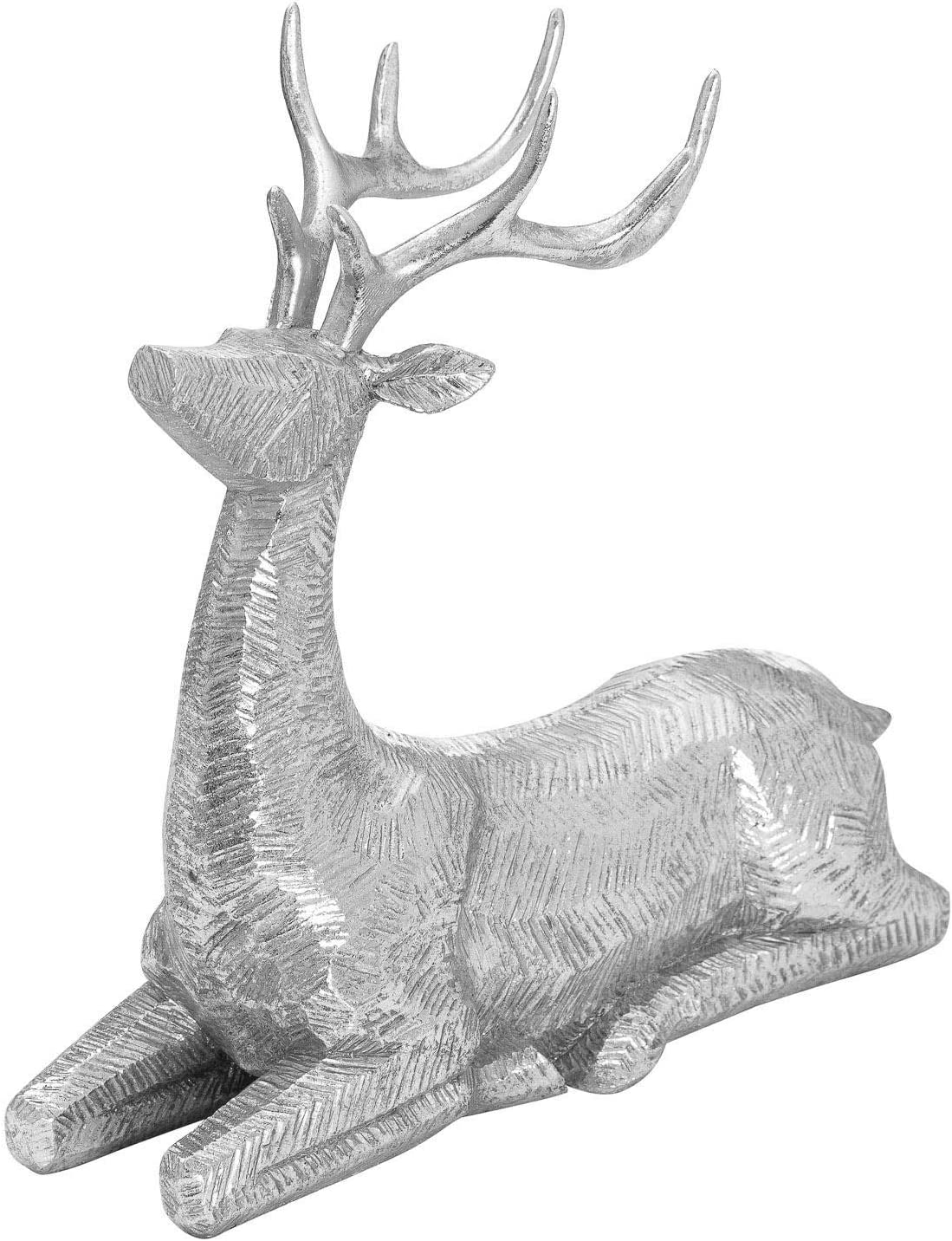 Hill 1975 Decorative Wood Effect Sitting Deer, One Size, Mixed