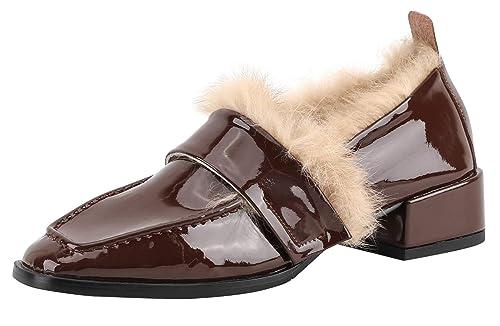 SimpleC Otoño Invierno Piel de Vaca Suave Pelo de Conejo Talón de Bloque Punta Cuadrada Zapatos Loafer Mocasines para Mujer Borg39: Amazon.es: Zapatos y ...