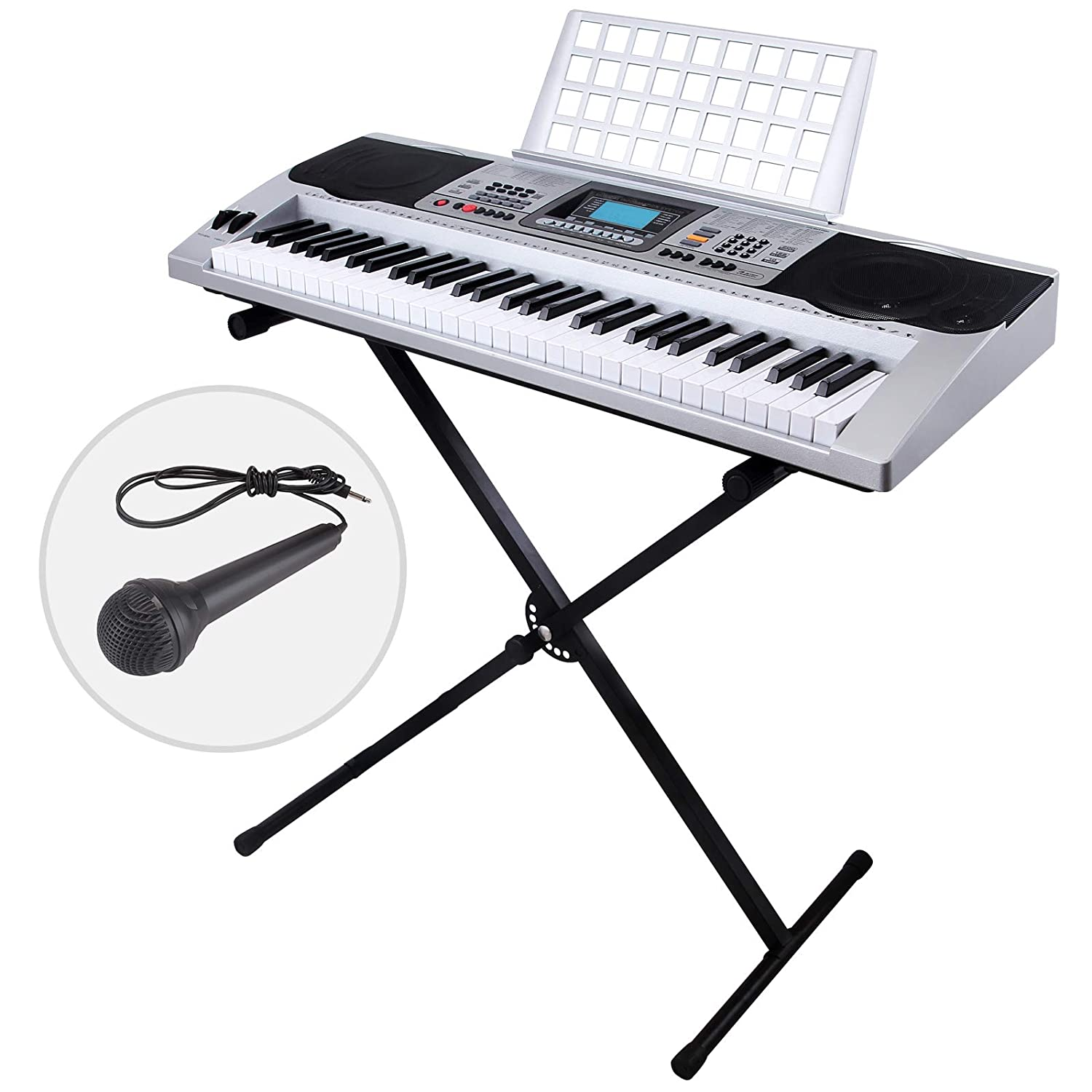 LAGRIMA 61 Key Portable Electric Piano Keyboard,W/Music Stand, H Stand, Power Supply, Microphone, Suit for Kids(Over 8 Years Old) Teen Adult Beginner