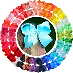 Big Hair Bows Girls Toddler 6 inches 40 PCS Hair Clips for Girls Alligator Baby Ponytail Holder