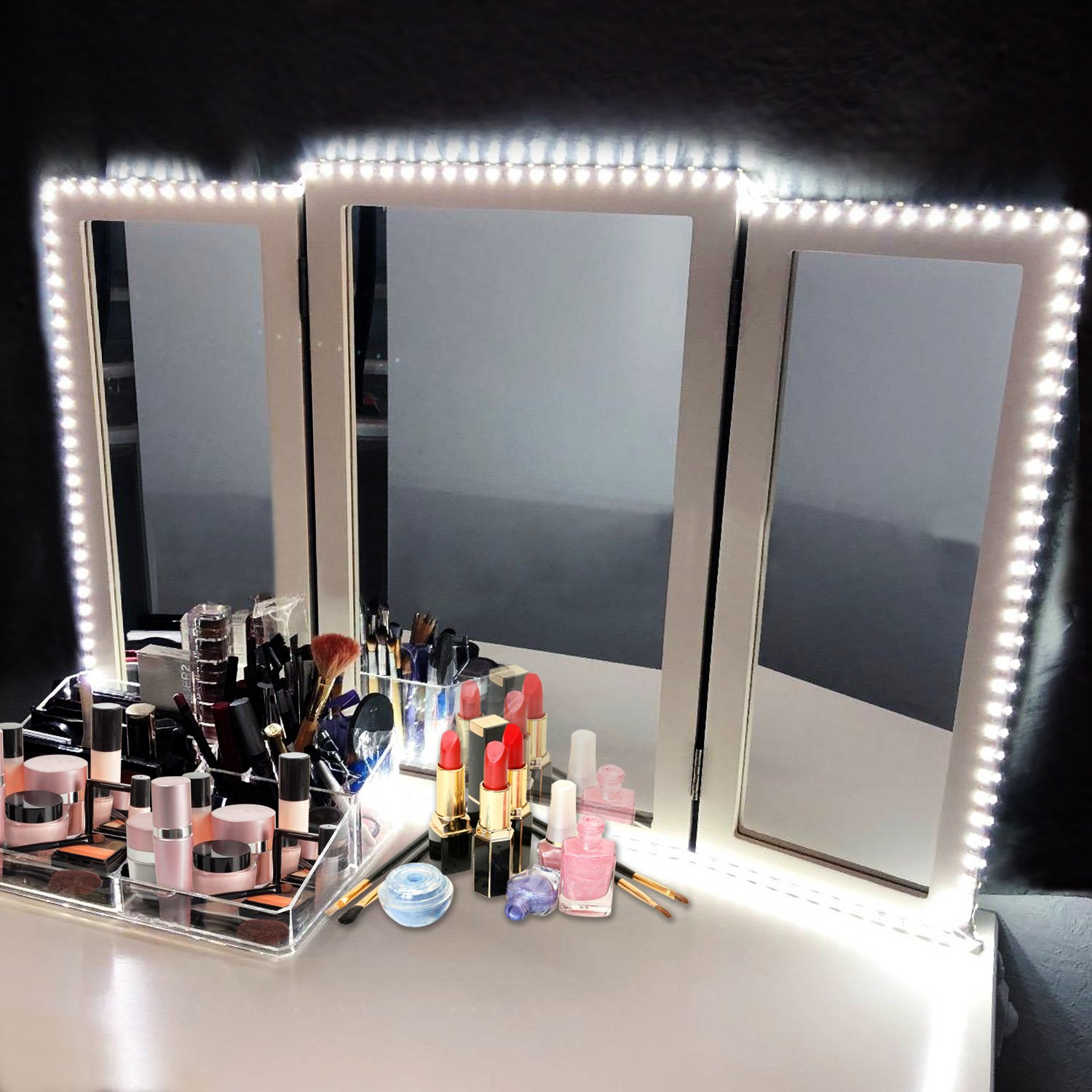 LED Vanity Mirror Lights Kit, Magicfly 13Ft 240 LEDs Make-up Vanity Mirror Light with Dimmer and Power Supply for Makeup Table Set, Flexible DIY Hollywood Style Mirror, Mirror not Included