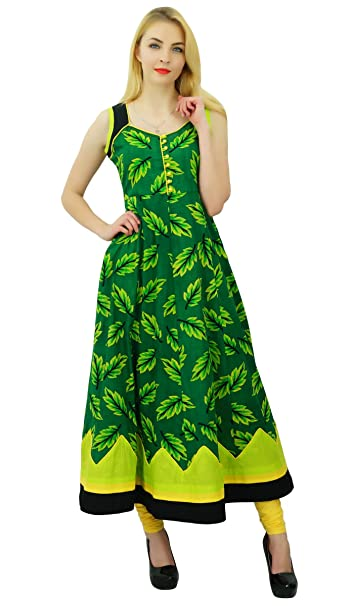 Phagun Kurti étnico diseñador de Las Mujeres Rayón Anarkali Kurta la Hoja de Impresión del Vestido