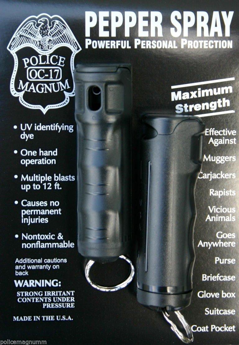 POLICE MAGNUM 2 Pepper Spray 1/2oz Black Flip Top Molded Keychain Security Self Defense Police Strength