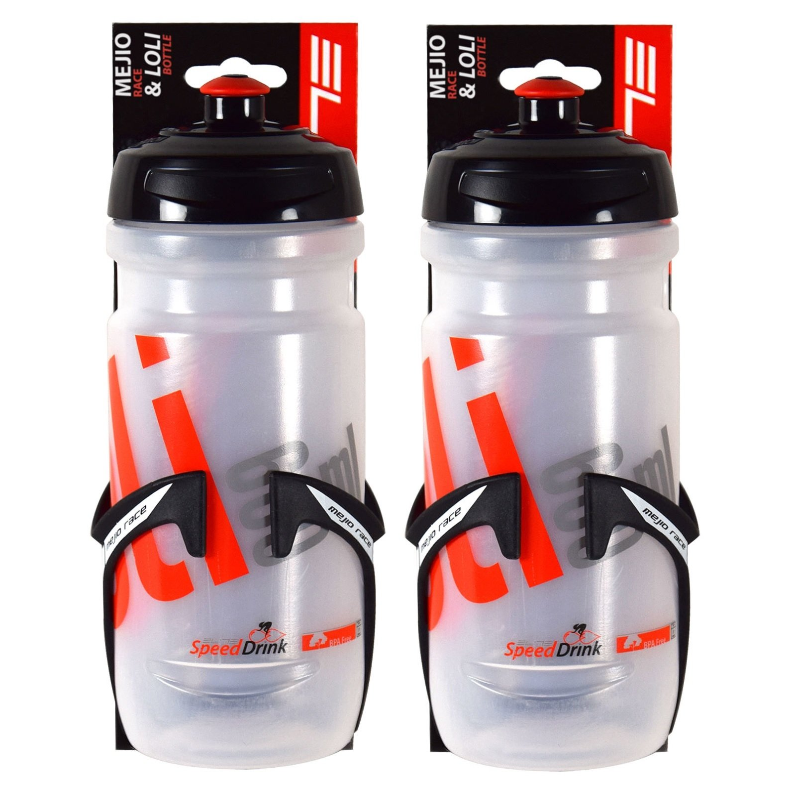 Elite Mejio Race Cage and LoLi 600ml Water Bottle Set (2 Pack) by Elite Cycling