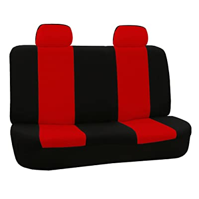 FH Group FB050RED012 Red Fabric Bench Car Seat Cover with 2 Headrests: Automotive