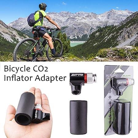 Inflador de neumático de bicicleta de CO2, adaptador de bomba de neumático de bicicleta rápido y fácil con manguito aislado para bicicletas de carretera y montaña,válvula Presta y Schrader compatibles: Amazon.es: Deportes