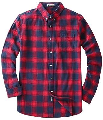 Mocotono Herren Langarm Kariertes Hemd Baumwolle Flanell Hemd mit Super  Qualität Rot und Dunkelblau XL f7b26a8610