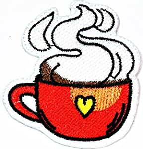 Coffee Cup Hot Drink Red Iron Sew On Embroidered Applique Embroidery for Clothes Patch Coffee Cup Drink French Fries Hamburger Fried Egg Pizza Food Breakfast Cartoon Sticker Kids Patch (06)