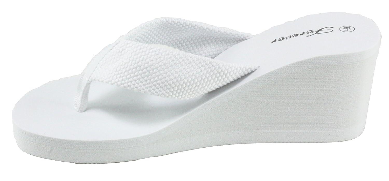Forever Sandals Women's Creek-62 EVA Foam Platform Wedge Thong Sandals Forever B07CNL7D2T 9 B(M) US|White 0c4dd3