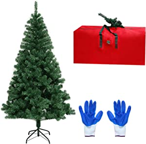 ROSELEAF 6ft Artificial Christmas Tree, Unlit Hinged Green Pine Xmas Tree 800 Branch Tips with Sturdy Stand and Storage Bag for Home Office Holiday Festival Party Decor