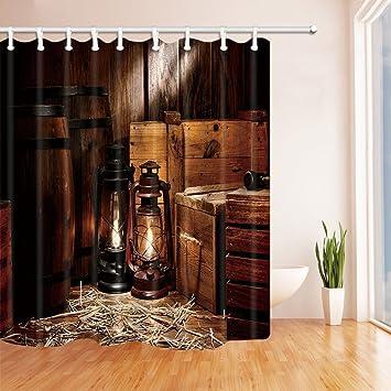 Gohebe Western Cowboy Duschvorhang American TEXAS Style Country Licht Auf  Holz Boden Polyester Schimmelresistent