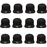 Gelante Plain Blank Flat Brim Adjustable Snapback Baseball Caps Wholesale LOT 12 Pack