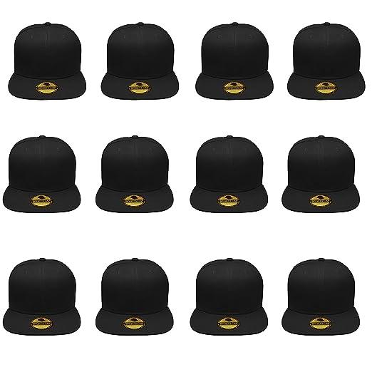 Gelante Plain Blank Flat Brim Adjustable Snapback Baseball Caps Wholesale  LOT 12 Pack - 1500- c8ea8285d7b9