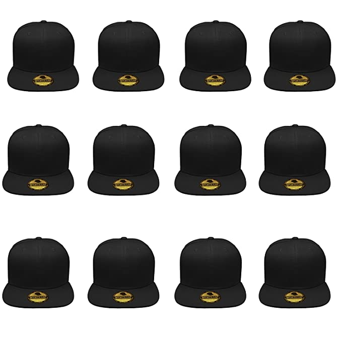 a198a8833e9 Gelante Plain Blank Flat Brim Adjustable Snapback Baseball Caps Wholesale  LOT 12 Pack - 1500-