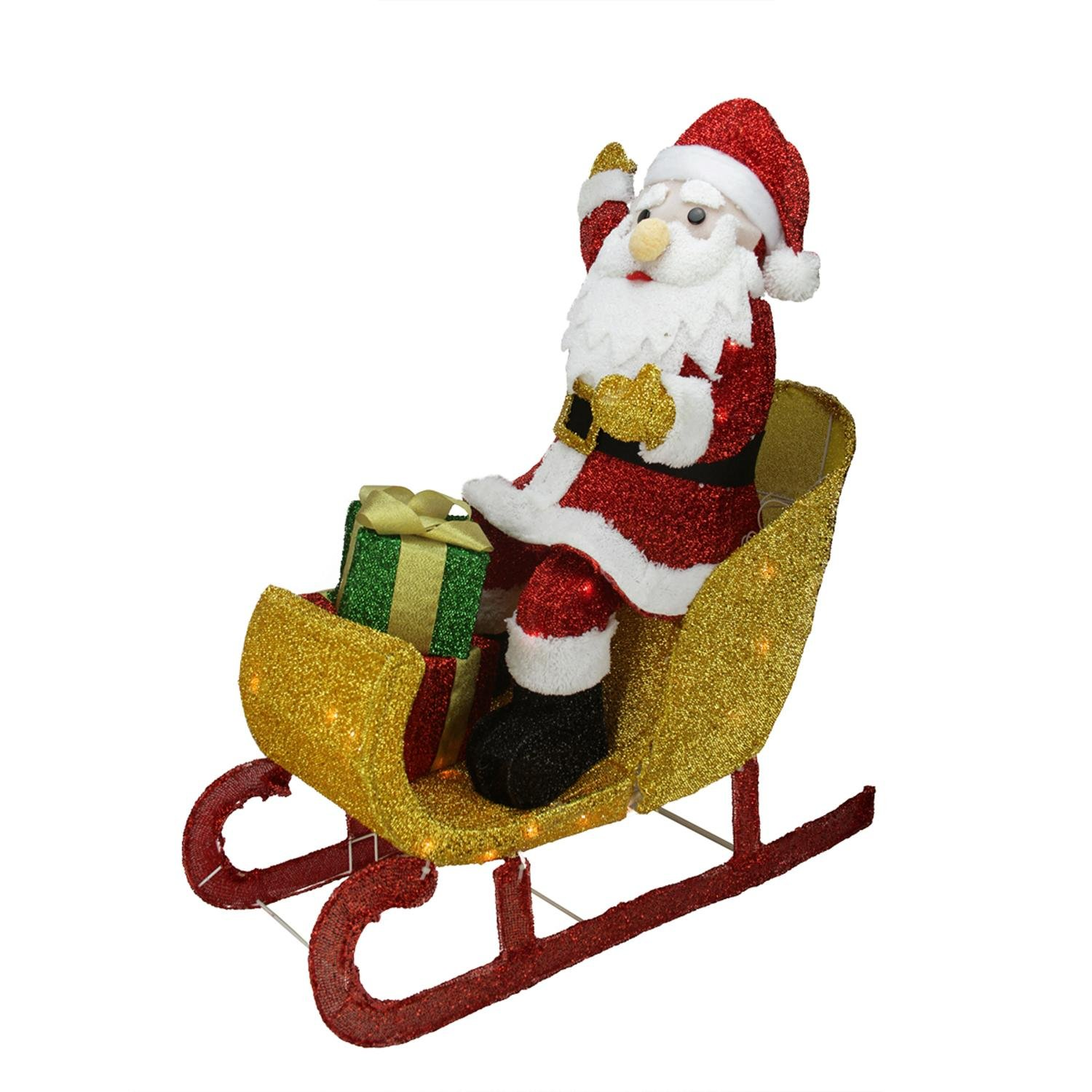 Northlight 29.5'' Lighted Tinsel Santa Claus in Sleigh Christmas Yard Art Decoration